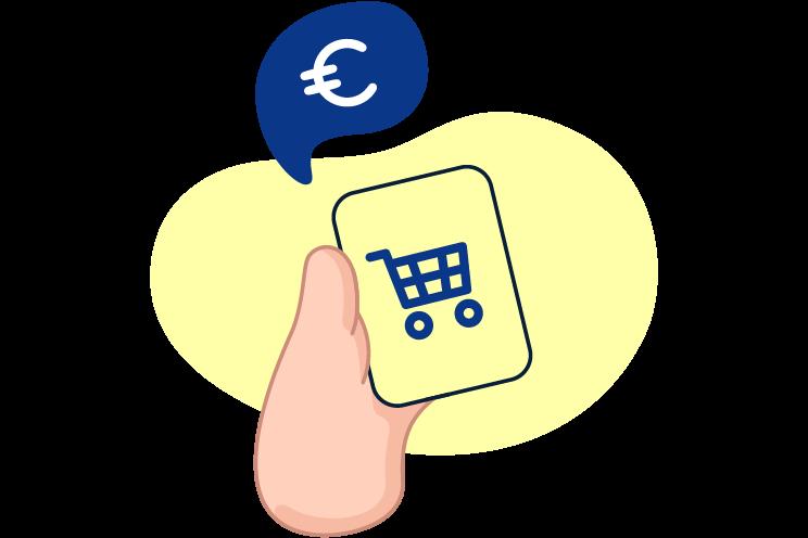Ilustración de mano ahorrando online con el móvil