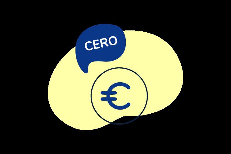 Ilustración de moneda de Euro con burbuja de texto denotando cero aportaciones Ahorra gratis compras jubilación