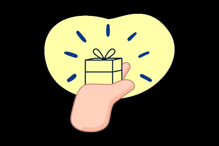 Mano sosteniendo regalo gratuito y ahorra